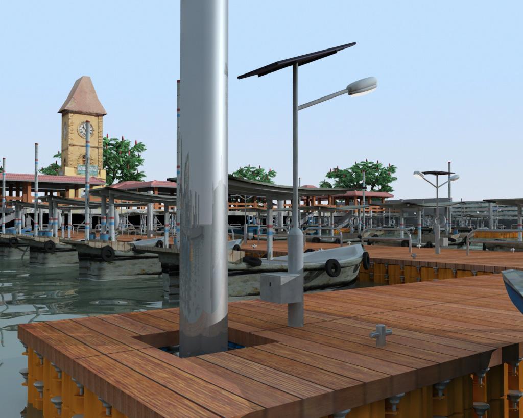 Muelle con piso madera marina