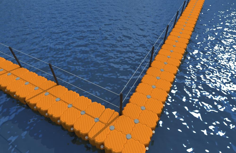 barrera con banister muelle flotante